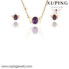 63843 Fashion élégant mignon 18k Plaqué or CZ Diamond Imitation Jewelry Set pour la noce