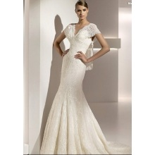 Trumpet Mermaid V-neck Lengan Pendek Chapel Lace Wedding Dress