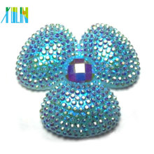 wholesale resin cabochon AB rhinestone flat back flower beads
