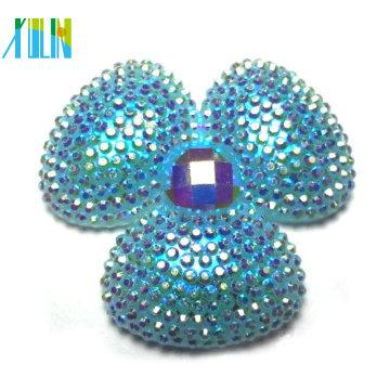 wholesale resin cabochon AB rhinestone flat back flower beads