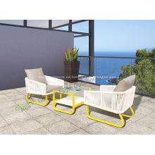 Muebles de mimbre de jardín con muebles populares de aluminio