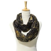Женская Весна Лето Золотая фольга паутина печать шарф Снуд (SW145)