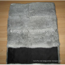 natürliches graues Farbchinchillakaninchen-Pelzkissen für Sofa