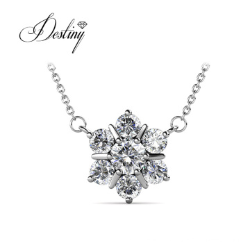 18K Gold Plated Flower Star Pendant Necklace with Crsytals