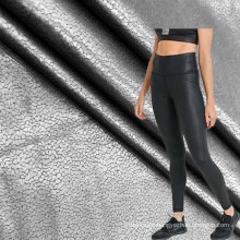 foil printed crackle design 4 way stretch dry fit active wear polyester leggings fabric
