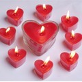 heart shape long burning tealight candles with glass holder