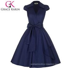 Grace Karin Cap manga cuello de la solapa de cuello en V Vintage retro de alto estrés vestido azul marino CL008953-5