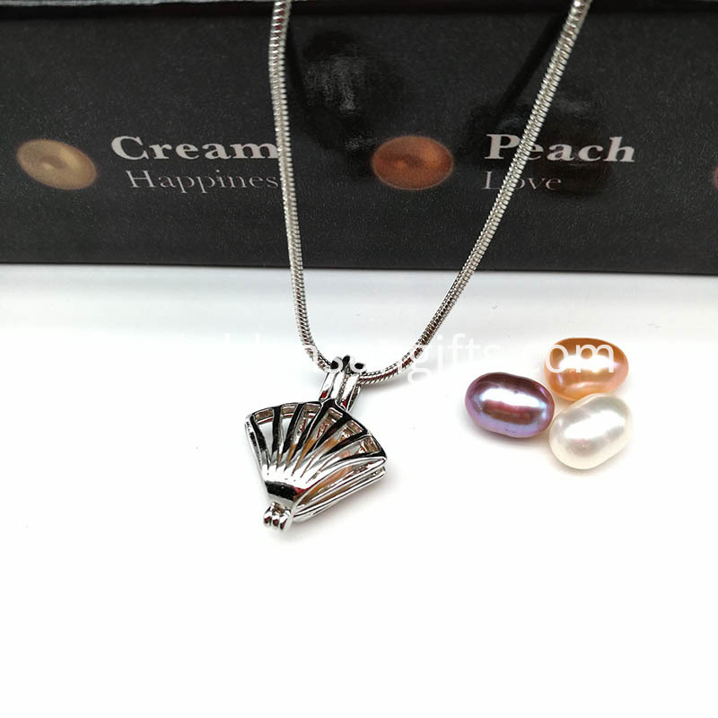Pearl Shell Locket Pendant Snake Chain