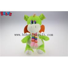 100% Polyester Stoff Grün Cuddly Plüsch Baby Dinosaurier Tier Spielzeug mit Schal für Kinder Bos1198