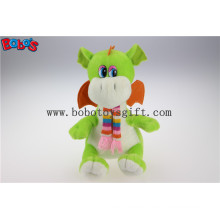 100% Polyester Fabric Green Cuddly Plush Baby Dinosaur Animal Toy with Scarf for Kids Bos1198