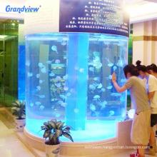 Customized lucite giant acrylic circular aquarium for exhibition