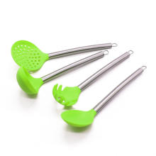 utensílios de cozinha conjunto de silicone alça de aço inoxidável