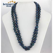 Art und Weisefrischwasserperlen-Halskette 11-12mm Pfau-blaue lange Reis-Perlen-Halskette