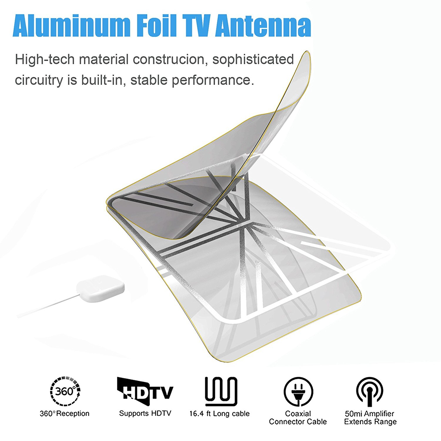 High gain portable digital indoor satellite tv antenna