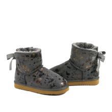 Fashion Winter Warm Cow Suede Leather Kids Boots