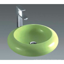 Bathroom Green Round Ceramic Countertop Stone Basin (7001G)