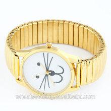 Relógio De Quartzo Criativo Europeu Em Material De Metal Plated Em Dourado Com O Gato Encantador Na Superfície Para a pessoa diferente 2014