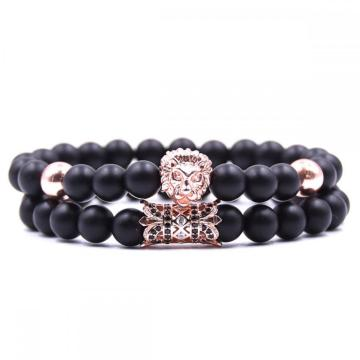 Black Lion Head Matte Onyx Bracelet