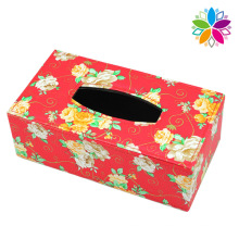 Rojo rectángulo de moda caja de tejido de cuero (zjh077)