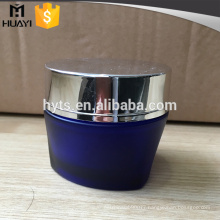 50ml blue color round body triangle bottom cream glass jar with lid