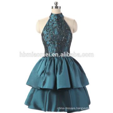 Factory supply cheap price evening dress beaded short design green color halter women's evening dress wholesale