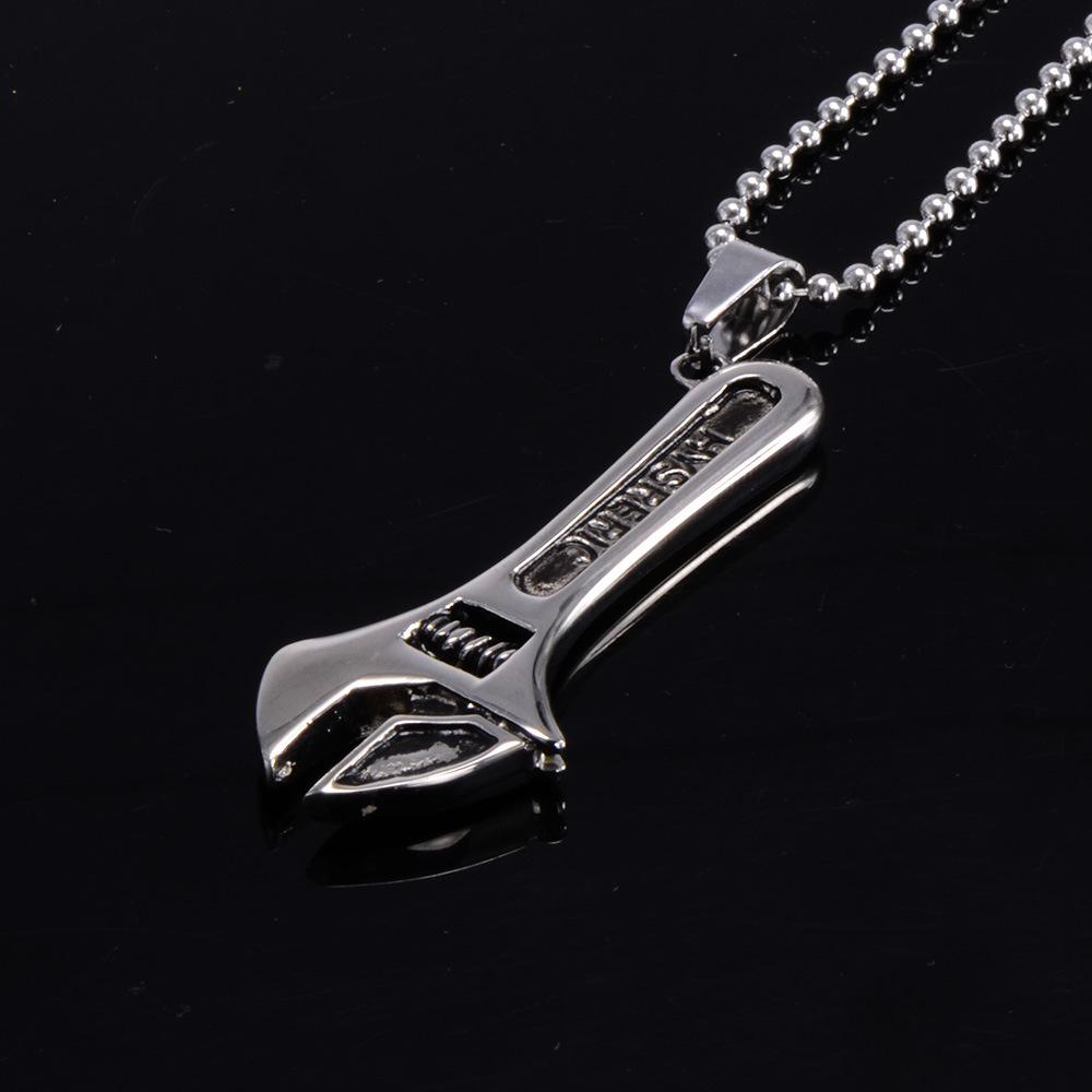 Mens Stainless Steel Adjustable Wrench Necklace Pendant