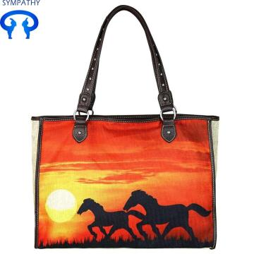 Shopper di borse tote stampate in canvas dipinto a mano