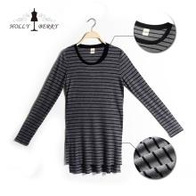 Frauen Bluse Langarm gestreift Lang Sweatshirt