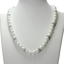 Leading for Beaded Necklaces Fashion Design White Glass Pearl Bead Necklace export to Tonga Factory