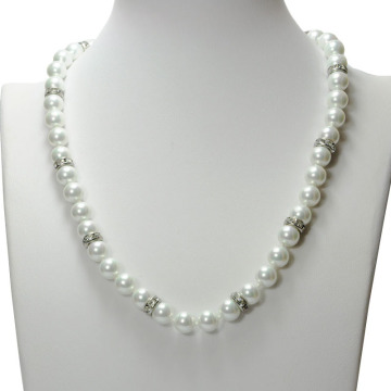 Fashion Design White Glass Pearl Bead Necklace