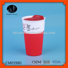 480ml promotion ceramic mug with silicone lid and sleeve,travel mug with logo