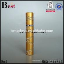 mini botella de perfume de la bomba del aerosol 5ml botella de perfume del oro del atomizador de aluminio 6ml 8ml