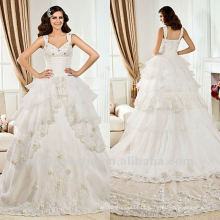 White Lace Ball Gown Lace Tiered Sequin Catherdral Train Wedding Dress 2012