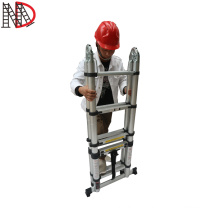 1.9+1.9 meter Double Sided Aluminium Telescopic Step Ladder with stable steels