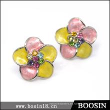 Pendiente de flores frescas de esmalte artesanal único # 2713