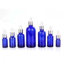 full size 15ml 30ml 50ml 100ml blue color Glass Essential Oil dropper bottle with silver lid