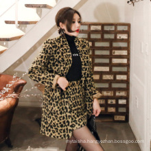 Ladies' 2020 Autumn and winter new Korean temperament double-breasted suits collar stand fashion skirt leopard woolen suit