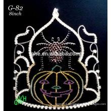 Nuevas coronas de halloween de la tiara de la cara de la calabaza del rhinestone