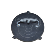 Wholesale Round Pig Pattern Cooking Meat Burger Cast Iron Bacon Press