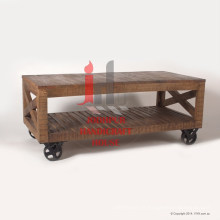 Plasma en bois naturel avec roues en fer