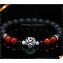 Bracelet en perles d'agate mat noir noir et blanc (CB0117)
