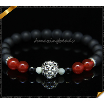 Red Cornalina Pedra Beads Black Matte Agate Beads Pulseira (CB0117)