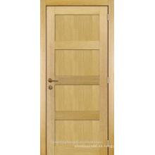 Chapeado de roble de diseño moderno de cuarto interior inacabado diseño de panel de madera de la puerta