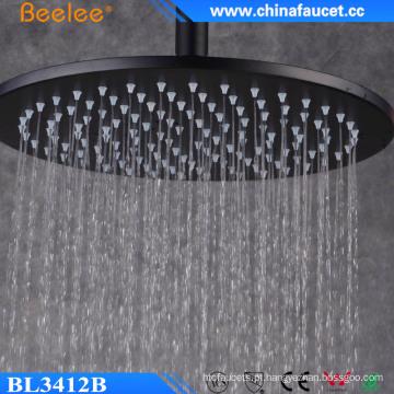 Cabeça de chuveiro alta do fluxo da precipitação preta redonda de 12 polegadas Ss304