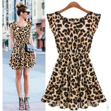 2015 New Fashion Sweet Girl′s Leopard Dresses