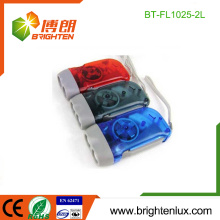 Factory Bulk Sale AG10 Button Cell Occasion Plastique Promotionnelle Cheap Best Hand Cranking 2 led Dynamo led Flashlight