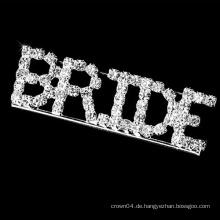 Mode Braut Brief Kristall Brosche für Hochzeit