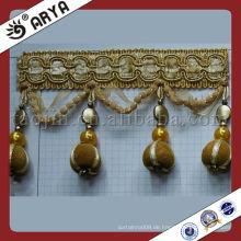 Brown Plüsch Perlen Quaste Hause Dekor Fransen