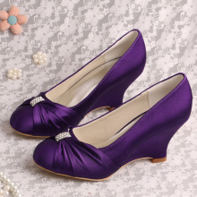 Purple Bridesmaid Shoes Wedges Closed Toe