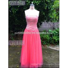 Charming A Line bretelles lourd perlée Accent Red Robe de bal Robes de soirée longue mousseline de soie